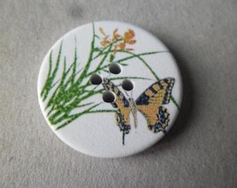 x 5 white motif Butterfly/flower wooden buttons 30 mm 4 holes