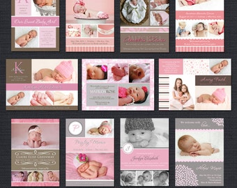 INSTANT DOWNLOAD - Birth Announcement Templates - Baby Girl Pack 3 - 11 PSD