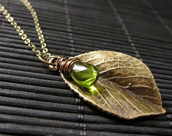 Leaf Necklace. Bronze Leaf Pendant with Wire Wrapped Green Teardrop. Handmade Jewelry.