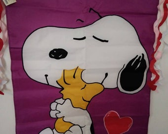 Large Peanuts Snoopy and Woodstock  Valentine's Day 2 Sided Applique house flag  28x40 new in package