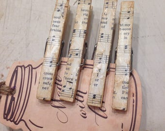 Magnets Clothepins Vintage Hynmal Sheet Trendy Clothespins Music Sheet Decorative Clips  Shabby Chic Memo Clips Fridge Magnets Set of 4