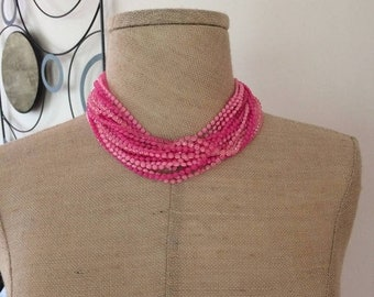 Birthday Sale Hot Pink Mod 60s Torsade Necklace