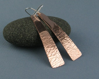 Long Textured Copper Earrings on Sterling Silver Earwires, Handmade
