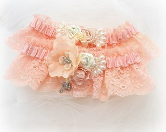 Fard à joues rose dentelle mariage mis au point mousse avec des perles Vintage Style élégant