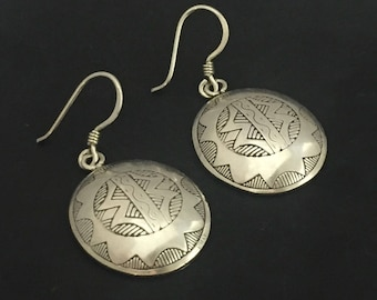 Moroccan Carved Sterling Silver Oval Earrings