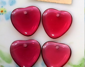 Vintage Glass Heart Drops Charms Dangles Beads Plum Hearts Lot Raspberry NOS. #1578Z