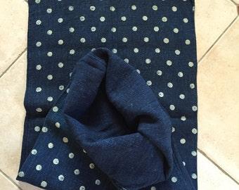 DNS1511 Indigo Blue White Polka Dot Vintage Linen Grainsack