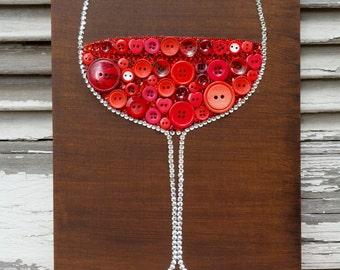 Red Wine Glass,Button & Bead Wall Art,Handmade Button Art,Wall decoration