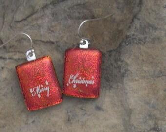 Christmas Earrings Dichroic Fused Glass Earrings Christmas Jewelry