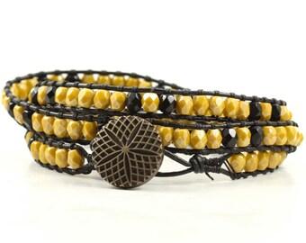 Mustard Wrap Bracelet Skinny Wrap Bracelet Black Leather Wrap Bracelet Boho Jewelry Triple Bohemian Jewelry Fall Fashion Hippie Style Autumn