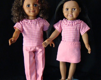 """American Girl Size Doll Clothes, Pink Plaid Blouse with Solid Pink Skirt or Jeans; for 18"""" Dolls! School, Play Time or Dress Up Doll Clothes"""
