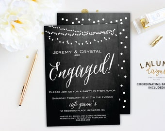Engagement Party Invitation, Printable Engagement Party Invitation, Engagement Invitation, Chalkboard Engagement Party Invite