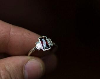 Garnet baguette Silver ring,  Sterling Baguette Ring, Garnet, Garnet Jewelry, January Birthstone Ring, Red Garnet Ring, Garnet Wedding Band