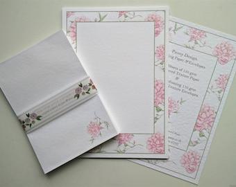 Writing Paper and Envelopes Set, Peony Border design