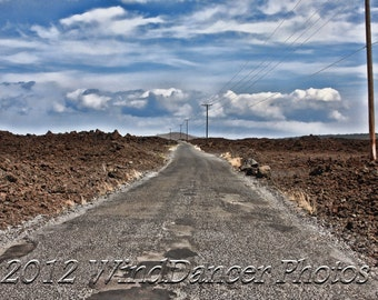 Lonely Road, Driving, Empty Road, Fine Art Photo, 16 x 20 Matted Photo, 1 Lane Road, Gift for Guys, Americana, Lava fields, Wall Decor