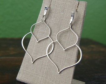 Double lotus petal pendant earrings in sterling silver, large earrings, flower earrings, teardrop earrings, curvy, abstract, mother's day