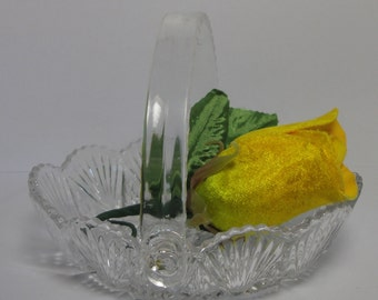 Vintage Cut Crystal Basket with Lucite Handle