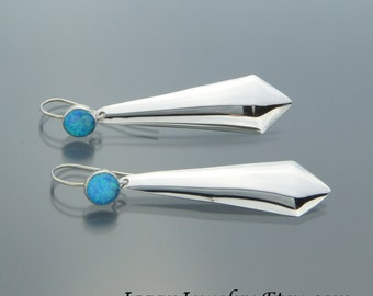 Long Sterling Silver Drop Earrings - Blue Opal Drop Earrings - Handmade Long Dangle Earrings - Statement Earrings - FREE SHIPPING