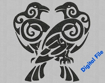 Odins Ravens x7 sizes Machine Embroidery