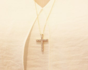 Cross CZ necklace/Cross necklace/ Cross long necklace/Cross statement necklace/everyday jewelry/Cross silver necklace/Cross gold necklace
