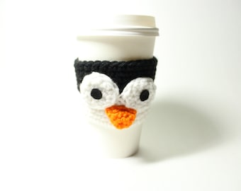 Coffee Cozy Penguin, Coffee Sleeve, Crochet Animal Can Holder, Java Jacket, Travel Drink Cup Holder
