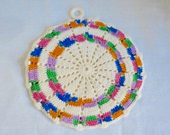 Handmade Vintage Crocheted Potholder, Colorful crocheted Potholder