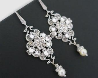 Bridal Earrings Vintage, Wedding Earrings Chandelier, Pearl Dangle Earrings, Wedding Jewelry for Brides, Sterling Silver, Swarovski Pearl