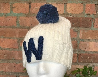 "Hand Knit Chicago Cubs ""W"" Hat"