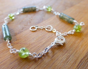 Moss agate tube and peridot green gemstone bracelet