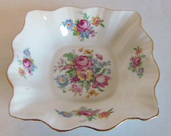 Vintage Floral Trinket Dish Candy Dish Rosina Bone China Jewelry Catchall Mint Dish Bedroom Decor