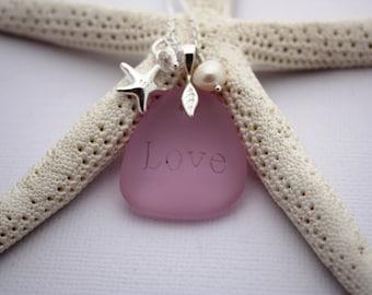 Pink Sea Glass Jewelry Sea Glass Necklace Seaglass Necklace Seaglass Jewelry Wedding Jewelry Bridal Jewelry Bridesmaid Jewelry Engraved 012