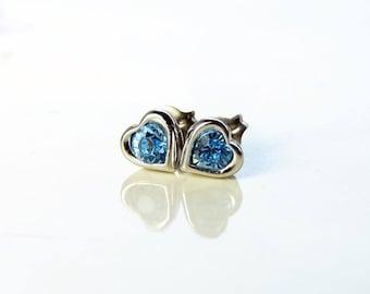 March Birthday. Teeny Tiny Swarovski Blue Heart Earrings. Aquamarine Heart Stud Earrings. Bridesmaid Earrings. Titanium Post Earrings