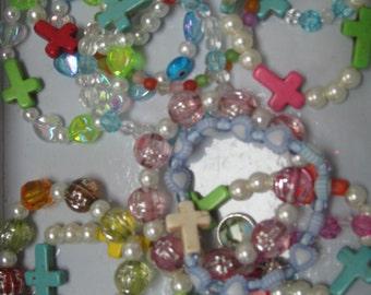 Girls bracelets, multicolor/ shape beads w/differnt color crosses, birthday party favors, easter egg filler, 20 pc.