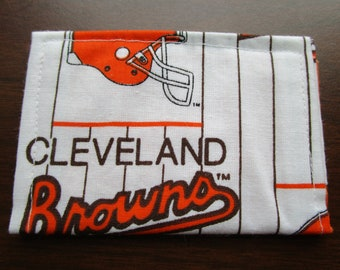 Wallet, Gift for Him, Minimalist Wallet,  Slim Wallet, Travel Wallet, Card Wallet, Business Card Holder Card Case, Cleveland Browns Football