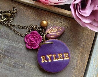 Purple Name necklace, Stamped Name on Necklace,  Personalized jewelry, Girl Name, Lady Necklace, Sister Gift