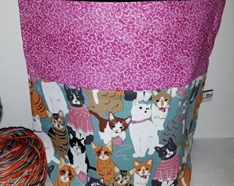 Cats & Kittens, Yarn Balls n' Sweaters, Medium or Large Choice of Zipper or Drawstring ,Knitting, Crochet WIP Wedge Project Tote Bag