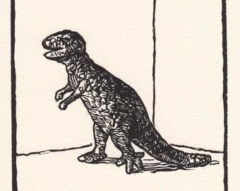 Animal Nik-Naks T-rex linocut