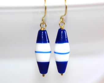 White and Blue Glass Earrings - 'Tragic Happiness'