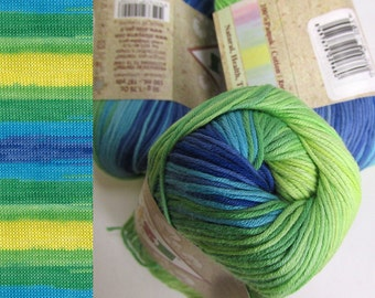 Cotton yarn, 3 skeins, soft, classical unbrushed, batic, green bue yellow