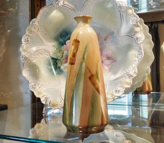 Antique Porcelain Bud Vase / Artist Signed / Hand Painted Porcelain