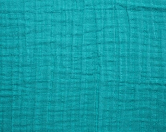 Teal Double Gauze, Shannon Fabrics Double Gauze, Teal fabric, Embrace Double Gauze Cotton Solid, Cotton Muslin Swaddle Fabric, 100% cotton