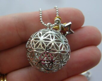 1 Flower of life ball pendant silver tone NB21