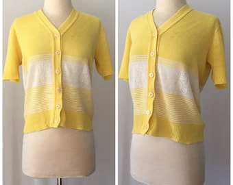 Vintage Knit Yellow and White Button up Blouse // 60s summer blouse // Pinup Shirt