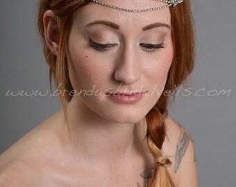 1920s Flapper Style Headband, Rhinestone Great Gatsby Style Hair Piece, Art Deco Rhinestone Headband, Crystal Wedding Headband - Demi