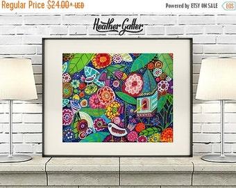 50% SALE- Bird Art - Bird House Art  Art Print Poster by Heather Galler Folk Art Landscape (HG178)