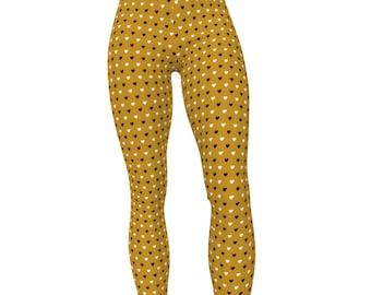U Purdue Gold & Black, Hearts Print High Waist Women's Yoga Pants