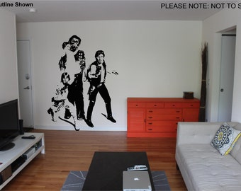 Starwars Cast - Hans,Luke,Leia & Chewy - Wall Art Sticker Decal