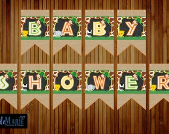 Safari themed Banner Birthday Baby Shower Banner- Instant Download