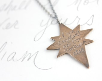 sale inspirational shakespeare quote jewelry necklace . bronze sterling silver statement necklace long northern star necklace ready to ship
