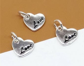5 Sterling Silver Love Charms, Heart Charms, Love Heart Charms, Valentines Charms, 925 Silver Love Charms - JH913